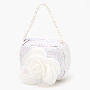 Claire's Club Sparkle Flower Bag - White,