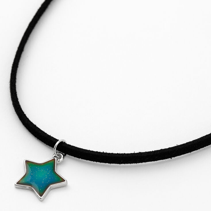 Silver Mood Star Cord Pendant Necklace - Black,