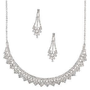 Silver Rhinestone Peacock Jewellry Set - 2 Pack,