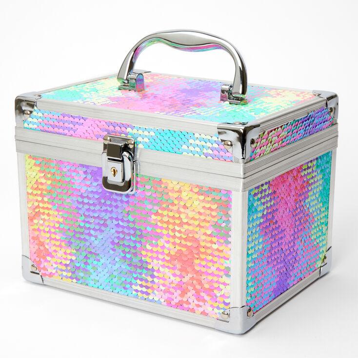 Reversible Sequin Rainbow Zig Zag Lock Box,