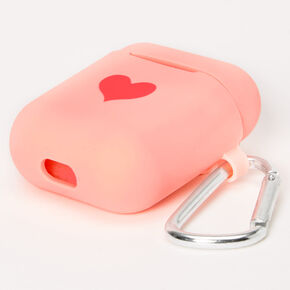 Pink Heart Silicone Earbud Case Cover - Compatible With Apple AirPods,