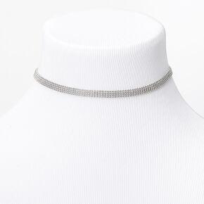 Silver Multi Row Ball Chain Choker Necklace,