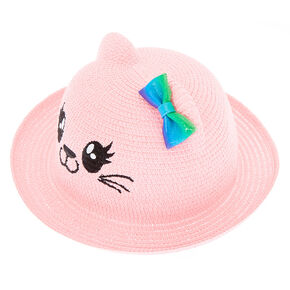799875a5f7b Claire s Club Cat Straw Hat - Pink