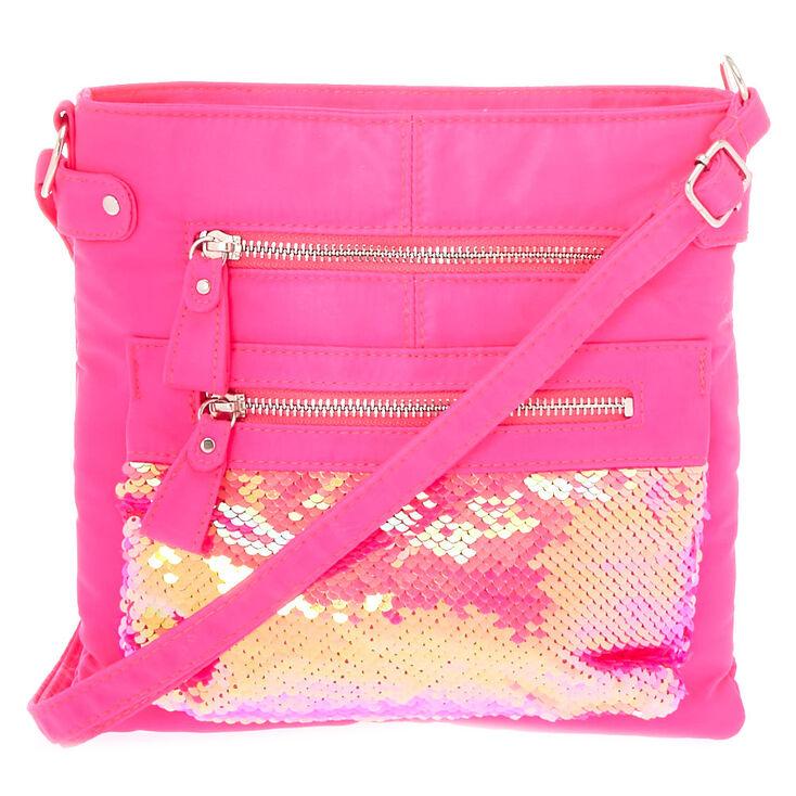 9a86ae086c Midi Reversible Sequin Crossbody Bag - Pink