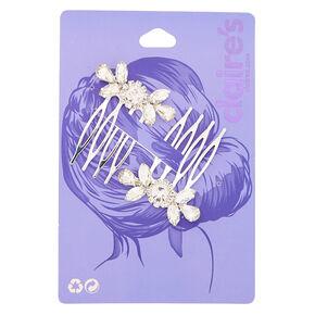 Silver Rhinestone Hair Combs - 2 Pack,