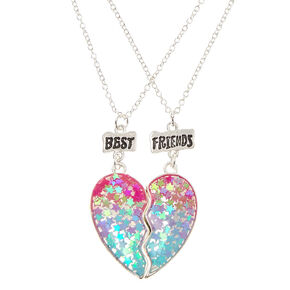 Best Friend Ombre Star Glitter Split Heart Necklaces,