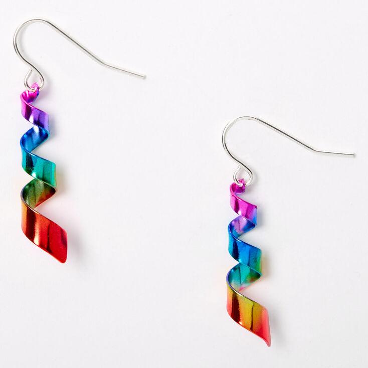 """Silver 1"""" Rainbow Ribbon Twist Drop Earrings,"""