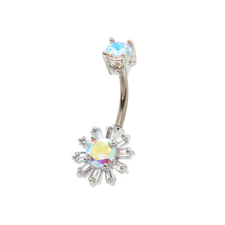 Silver 14g Iridescent Sun Belly Ring