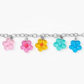 Silver Flower Charm Bracelet- Rainbow,