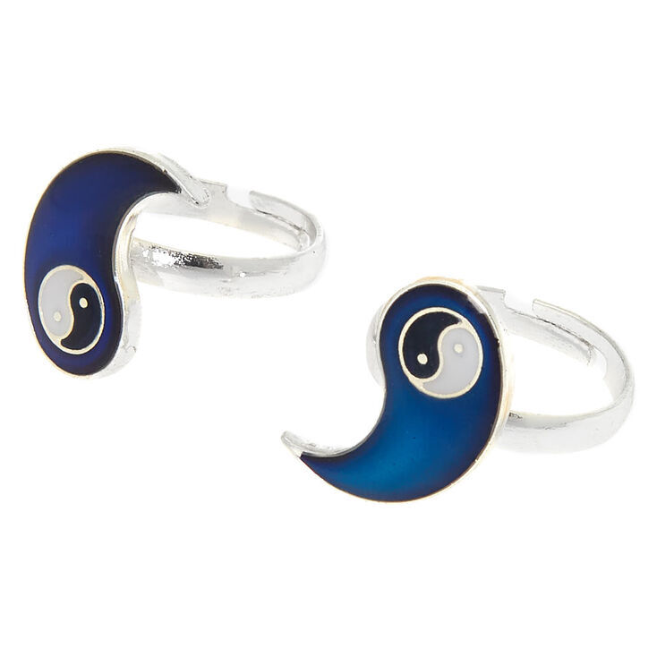 Silver Best Friends Mood Yin Yang Rings - 2 Pack,