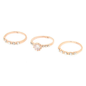 Rose Gold Cubic Zirconia Rings - 3 Pack