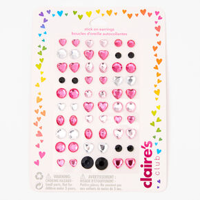 Claire's Club Pink Gemstones Stick On Earrings - 60 Pack,