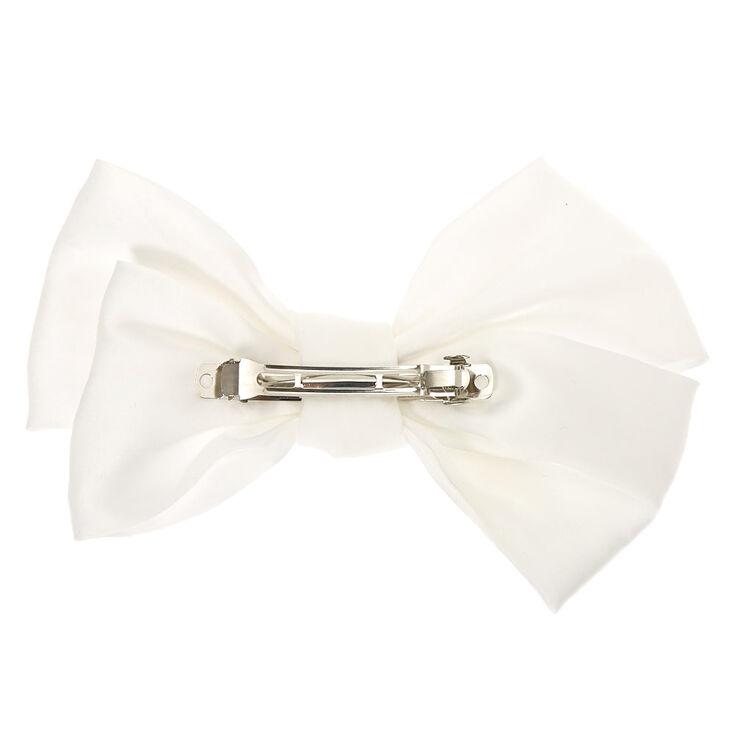 Large Hair Bow Clip - White,