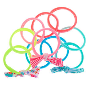 Claire's Club Neon Rolled Hair Bobbles - 10 Pack,