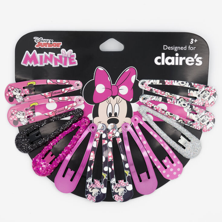 ©Disney Minnie Mouse Glitter Snap Clips Wheel – Pink, 12 Pack,