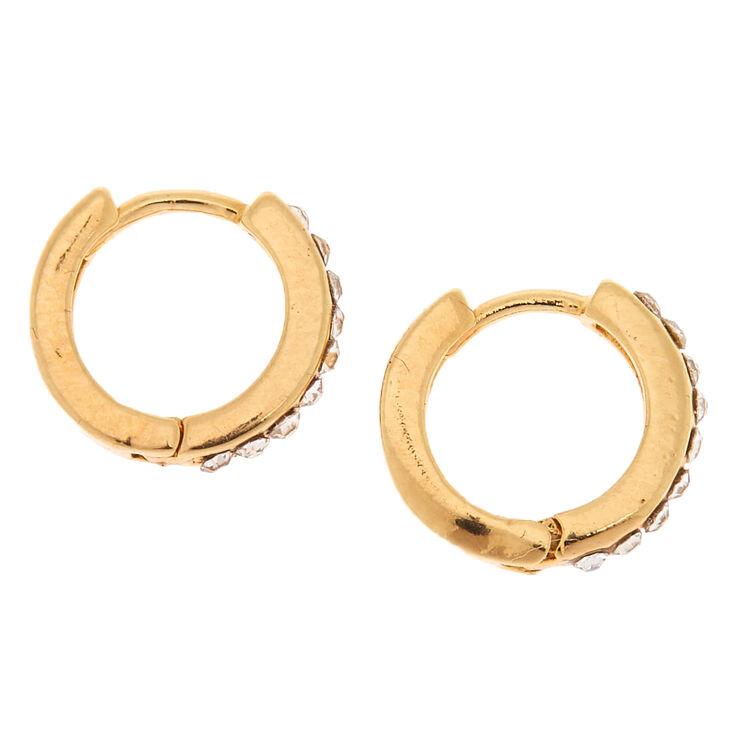 18kt Gold Plated 10MM Embellished Hoop Earrings,