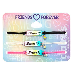 Rainbow Adjustable Sister Bracelets - 3 Pack,