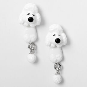 Silver Poodle Ear Jacket Earrings - White,