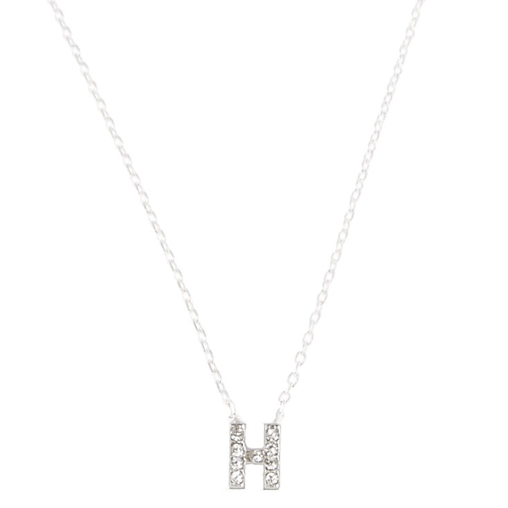 Silver Embellished Initial Pendant Necklace - H,