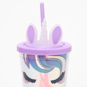 Glitter Unicorn Iridescent Tumbler - Purple,