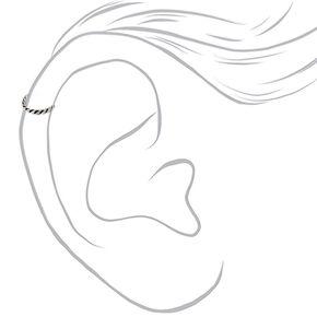 Sterling Silver 22G Twisted Cartilage Hoop Earring,