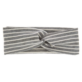 Striped Ribbed Knotted Headwrap - Gray,