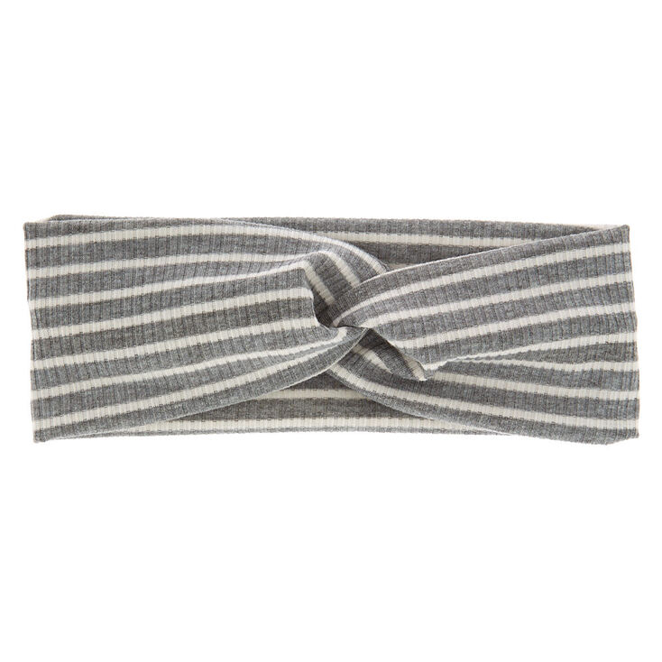Striped Ribbed Knotted Headwrap - Grey,