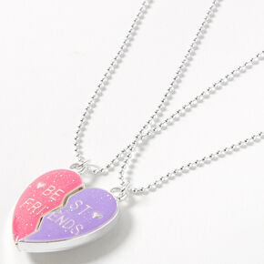 Best Friends Pink & Purple Heart Pendant Necklaces - 2 Pack,
