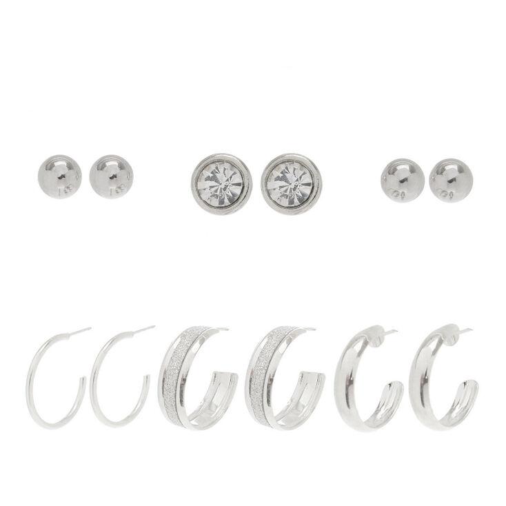 Half Hoops & Studs Earrings Set - 6 Pack,