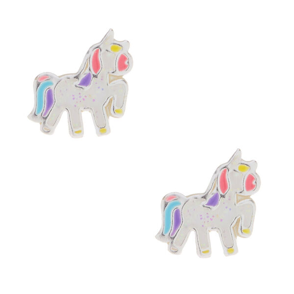 Claire's - sterling party glitter unicorn earrings - 1