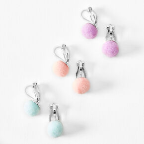 Silver Pastel Pom Pom Clip On Earrings - 3 Pack,
