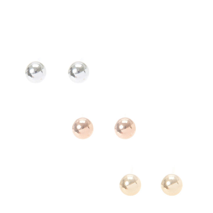 52be0048f 3 Pack 4MM Sterling Silver Mixed Metal Stud Earrings   Claire's US