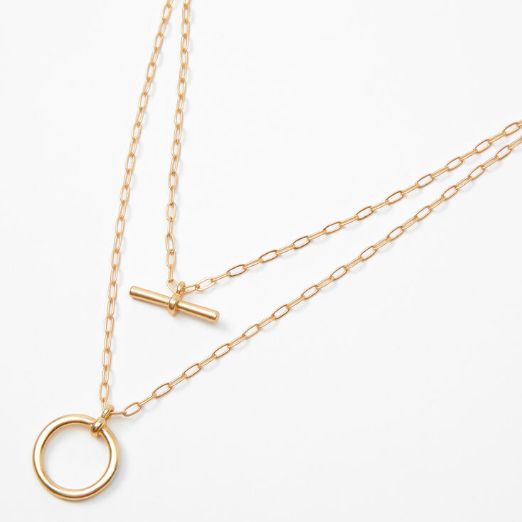 Gold Bar Circle Chain Multi Strand Necklace,