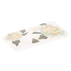 White Rose Clear Protective Phone Case - Fits iPhone 6/7/8/SE,