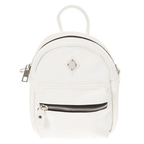 Faux Leather Mini Backpack Crossbody Bag - White,