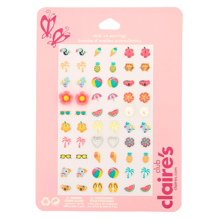 Claire's Club Stick On Earrings - 30 Pack,