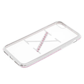 Pink Stone X Initial Phone Case - Fits iPhone 6/7/8/SE,