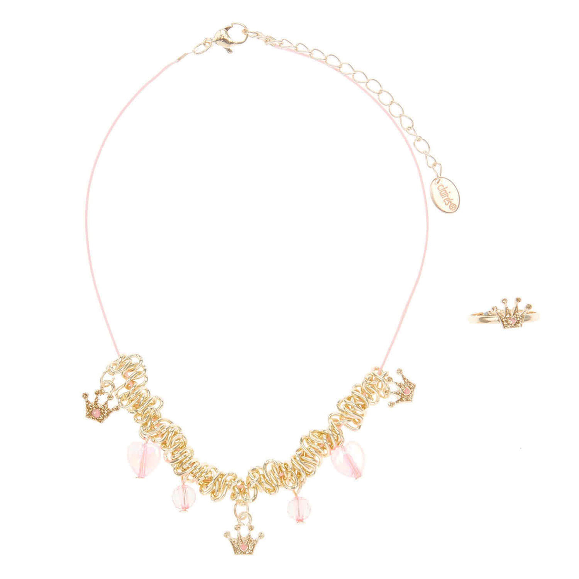 pink claire gold and crown pack ring s princess kids necklace us