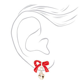 Silver Jingle Bell Bow Stud Earrings - Red,