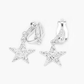 """Silver 1"""" Sandblast Star Clip On Drop Earrings,"""