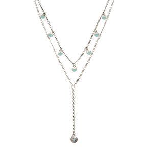 Silver Boho Circle Multi Strand Necklace - Turquoise,