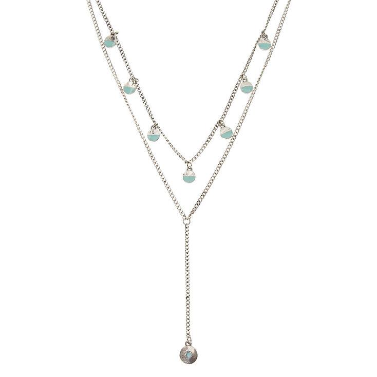 Collier avec double chaîne couleur argenté et breloques en cercles couleur turquoise,