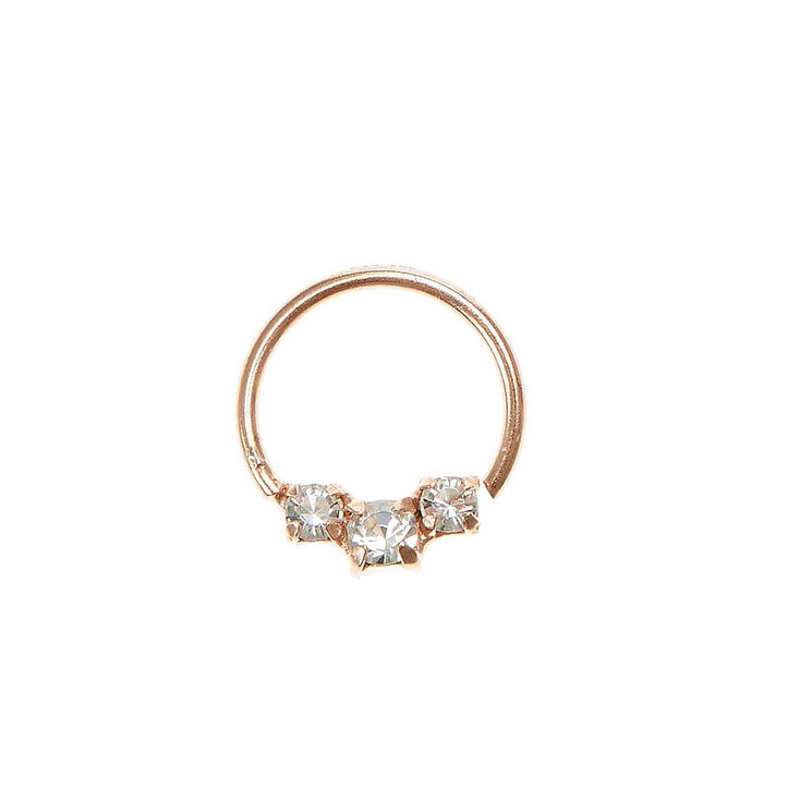Rhinestone Rose Gold Cartilage Hoop Ring   Claire's US