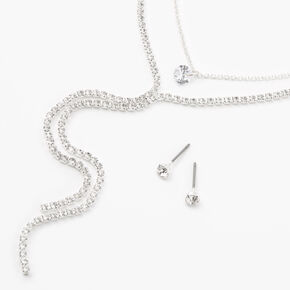 Silver Round Rhinestone Y-Neck Jewelry Set - 2 Pack,