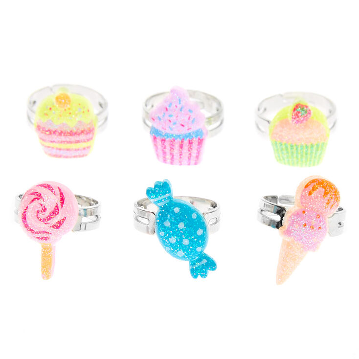 Claire's Club Sweet Treat Ring Set - 6 Pack,