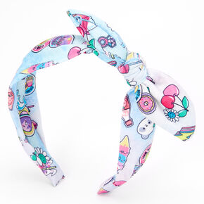 Snack Time Knotted Bow Headband - Blue,