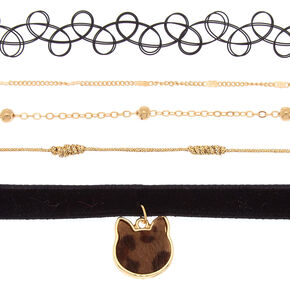 Gold Leopard Cat Choker Necklaces - 4 Pack,