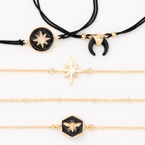 Bracelets en émail noir et chaîne couleur dorée - Lot de 5,