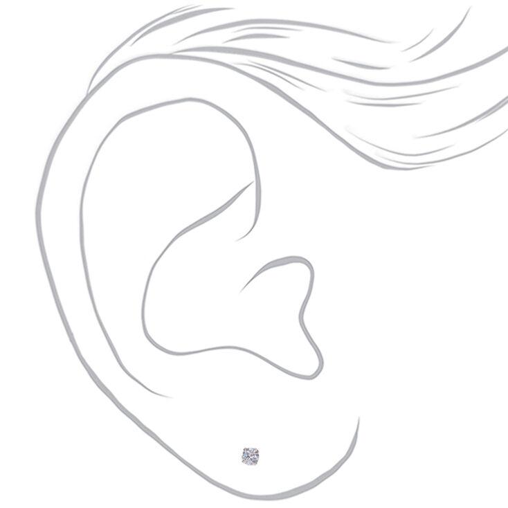 Sterling Silver Cubic Zirconia Round Stud Earrings - 3MM,