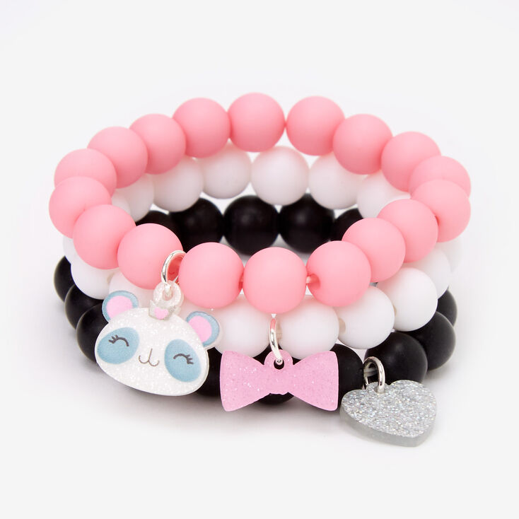 Claire's Club Panda Matte Beaded Stretch Bracelets - 3 Pack,